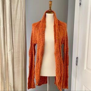 Anthropologie orange loose knit cardigan